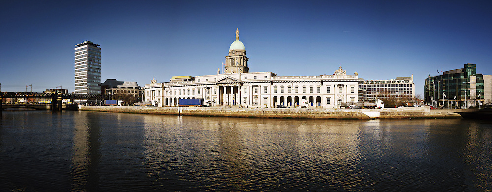 March, 2011, Dublin, Ireland: A panorama of the famous customs House, on the Quays in Dublin City Center