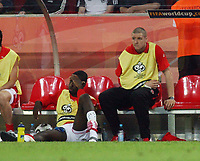 Photo: Chris Ratcliffe.<br /> Switzerland v Ukraine. 2nd Round, FIFA World Cup 2006. 26/06/2006.<br /> Johan Djourou and Philippe Senderos of Arsenal and Switzerland are gutted.