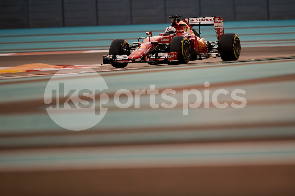 Sebastian Vettel of Germany and Scuderia Ferrari drives during the qualifying session of the 2015 Formula 1 Etihad Airways Abu Dhabi Grand Prix at Yas Marina Circuit, Abu Dhabi, United Arab Emirates on 28 November 2015. Photo by James Gasperotti.