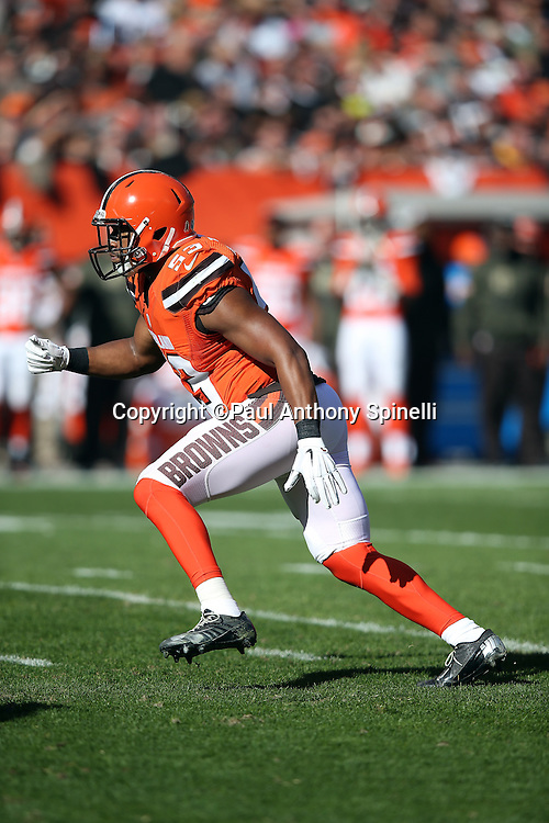 Cleveland Browns inside linebacker Craig Robertson (53) chases the action during the 2015 week 8 regular season NFL football game against the Arizona Cardinals on Sunday, Nov. 1, 2015 in Cleveland. The Cardinals won the game 34-20. (©Paul Anthony Spinelli)