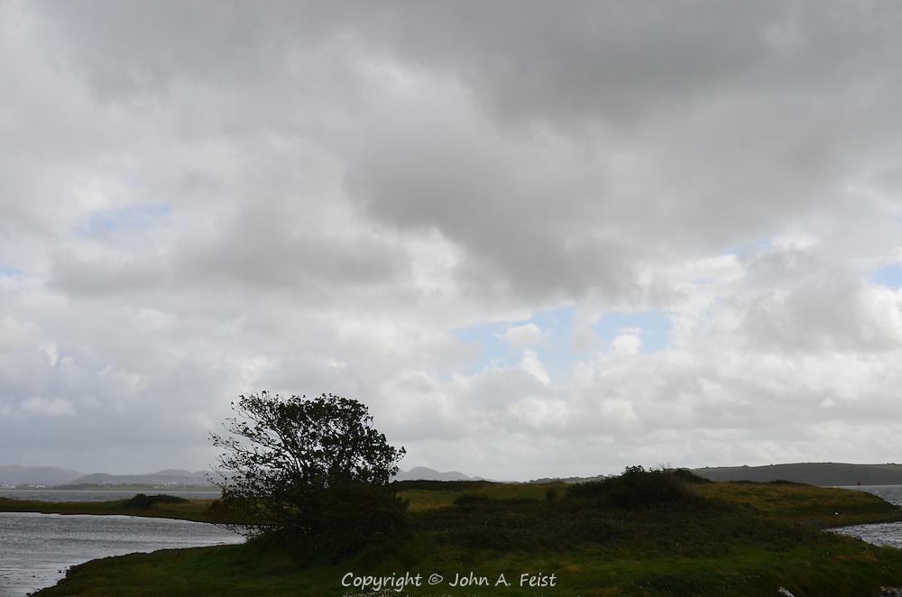 Storm clouds and wind over an island at Sligo, County Sligo, Ireland.