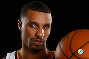 Utah Jazz's George Hill poses for a photograph during an NBA basketball media day Monday, Sept. 26, 2016, in Salt Lake City. (AP Photo/Jeff Swinger)