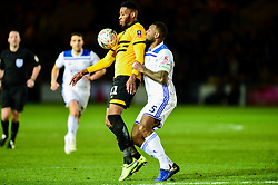 Jamille Matt of Newport County is challenged by Wes Morgan of Leicester City - Mandatory by-line: Ryan Hiscott/JMP - 06/01/2019 - FOOTBALL - Rodney Parade - Newport, Wales - Newport County v Leicester City - Emirates FA Cup third round proper