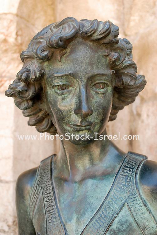 Israel, Jerusalem, Statue of King David be Verrocchio (1435 - 1488) Bronze copy