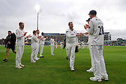 Marcus Trescothick of Somerset leaves the field in his last match and has a guard of honour as he walks off during the Specsavers County Champ Div 1 match between Somerset County Cricket Club and Essex County Cricket Club at the Cooper Associates County Ground, Taunton, United Kingdom on 26 September 2019.