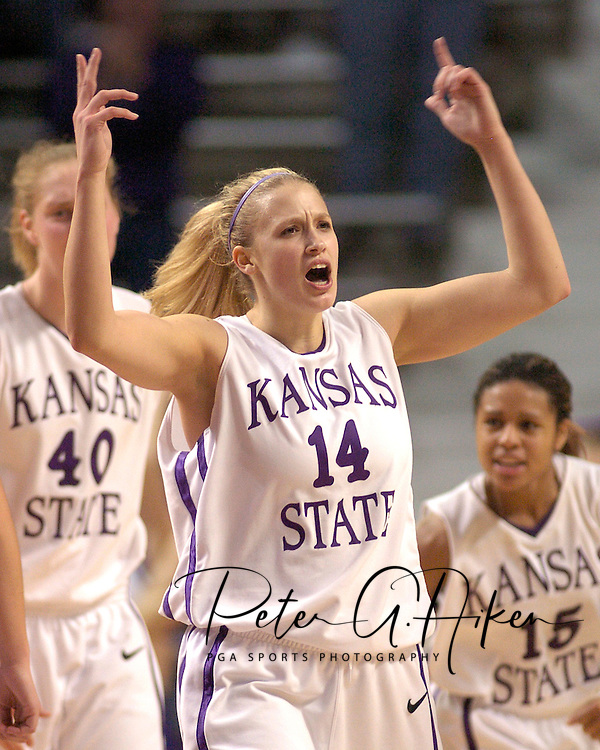 Kansas State's Claire Coggins reacts as the Wildcats beat Texas Tech 53-51 at Bramlage Coliseum in Manhattan, Kansas, January 4, 2006.