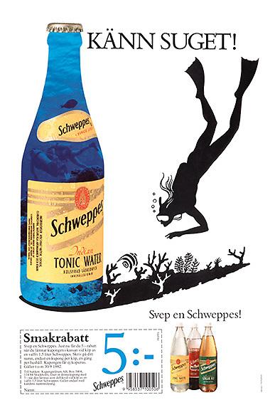 Schweppes underwater photo as bottle