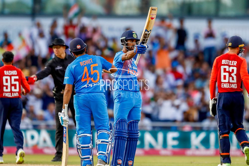 India T20 all rounder KL Lokesh Rahul goes to his 50, half century during the International T20 match between England and India at Old Trafford, Manchester, England on 3 July 2018. Picture by Simon Davies.