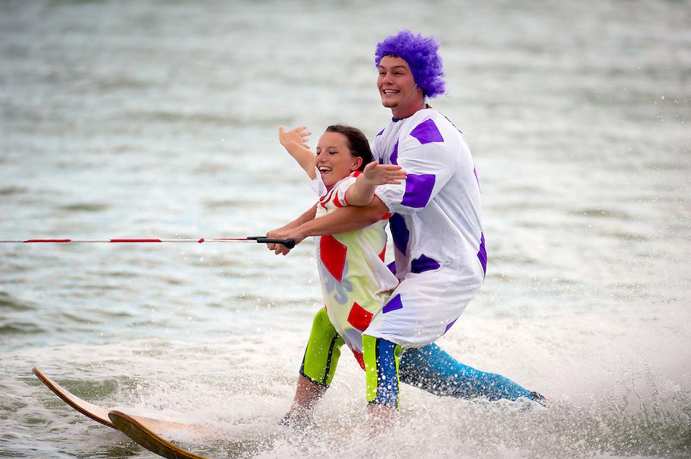SARASOTA, FL -- October 2012 -- Sarasota Ski-A-Rees Water Ski Show Team perform a free show on City Island in Sarasota, Florida.  (PHOTO / CHIP LITHERLAND)