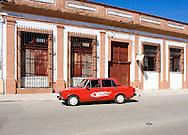 Russian car with flames in Cardenas, Matanzas, Cuba.