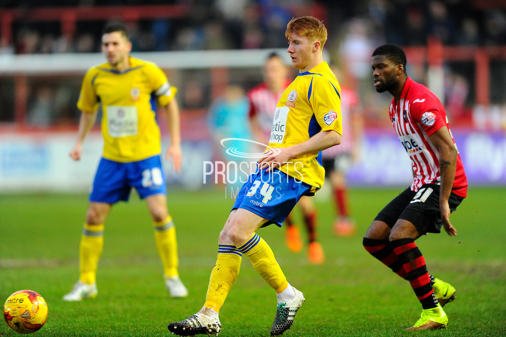 Accrington Stanley's Bradley Halliday during the Sky Bet League 2 match between Exeter City and Accrington Stanley at St James' Park, Exeter, England on 23 January 2016. Photo by Graham Hunt.