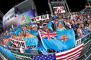 Fiji supporters group the Blue Wiggers cheer Fiji onto the field  in the Cathay Pacific/HSBC Hong Kong 7s at Hong Kong Stadium, Hong Kong, Hong Kong on 7 April 2017. Photo by Ian  Muir.*** during *** v *** in the Cathay Pacific/HSBC Hong Kong 7s at Hong Kong Stadium, Hong Kong, Hong Kong on 7 April 2017. Photo by Ian  Muir.