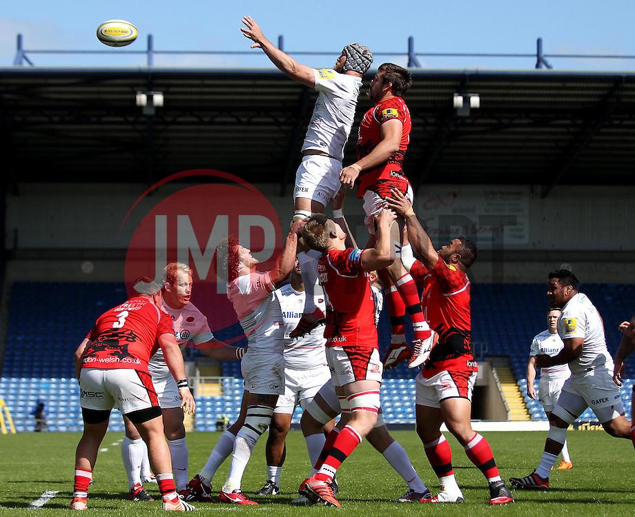 Saracens Alistair Hargreaves claims a line out - Photo mandatory by-line: Robbie Stephenson/JMP - Mobile: 07966 386802 - 16/05/2015 - SPORT - Rugby - Oxford - Kassam Stadium - London Welsh v Saracens - Aviva Premiership