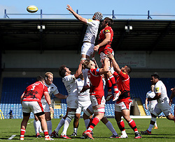 Saracens Alistair Hargreaves claims a line out - Photo mandatory by-line: Robbie Stephenson/JMP - Mobile: 07966 386802 - 16/05/2015 - SPORT - Rugby - Oxford - Kassam Stadium - London Welsh v Saracens - Aviva Premiership