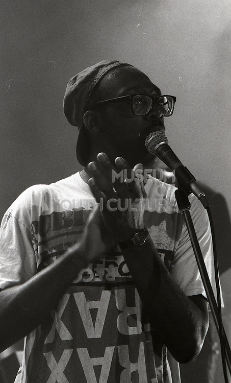 Donald Johnson of A Certain Ratio, Happy Mondays performing at Granada TV Studios, Manchester, 1989