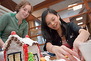 The Baker Food Court is hosting a Gingerbread Competition....Ashley Ranck(green) and Ga-Jen Lin(right)