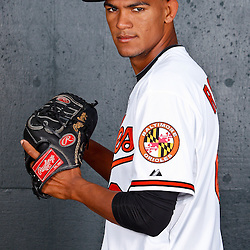 February 26, 2011; Sarasota, FL, USA; Baltimore Orioles relief pitcher Adrian Rosario (68) poses during photo day at Ed Smith Stadium.  Mandatory Credit: Derick E. Hingle