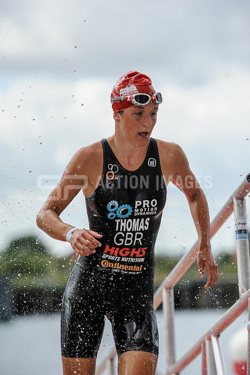 Zoe Thomas exits the swim during the Virgin Active London Triathlon, Excel London, UK on 28 July 2013. Photo: Simon Parker