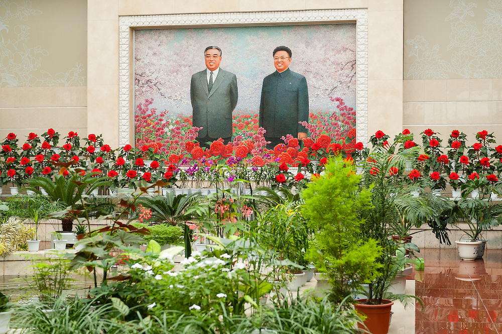 Mosaic mural of Kim Il Sung and Kim Jong Il at the Flower Exhibition, Pyongyang, DPRK (North Korea)