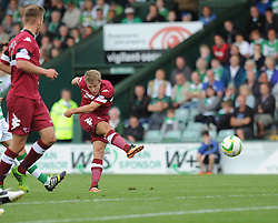 Derby County's Jamie Ward shoots outside the box but fails to score.  - Photo mandatory by-line: Alex James/JMP - Tel: Mobile: 07966 386802 24/08/2013 - SPORT - FOOTBALL - Huish Park - Yeovil -  Yeovil Town V Derby County - Sky Bet Championship