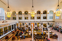 The newly renovated interior of Union Station in Downtown Denver, Colorado USA. The upper floors of the building are now the Crawford Hotel.