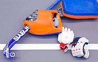 ARNHEM -  ILLUSTRATIE - keeper; zaal;  tijdens de eerste dag van de zaalhockey competitie in de hoofdklasse, seizoen 2013/2014. COPYRIGHT KOEN SUYK