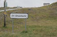 An Ghaeltacht sign Inis Oirr beach the Aran Islands Galway Ireland