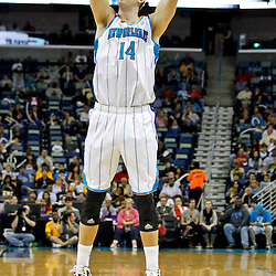 December 21, 2011; New Orleans, LA, USA; New Orleans Hornets power forward Jason Smith (14) against the Memphis Grizzlies during a preseason game at the New Orleans Arena.   Mandatory Credit: Derick E. Hingle-US PRESSWIRE