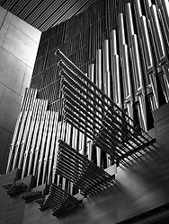 The pipe organ of the Cathedral of Our Lady of the Angels is believed to be the 89th largest pipe organ in North America and the 143rd largest in the world. It was built by Dobson Pipe Organ Builders, Ltd., of Lake City, Iowa with visual design collaboration with Cathedral architect Rafael Moneo. The organ's burnished tin facade is the largest facade in the United States  made of polished tin.