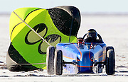 Moon Equipment's number 533 racer comes to the end of the run after attempting a land speed record during Speed Week at the Bonneville Raceway in Utah, 8/21/08. Photo by Colin Braley