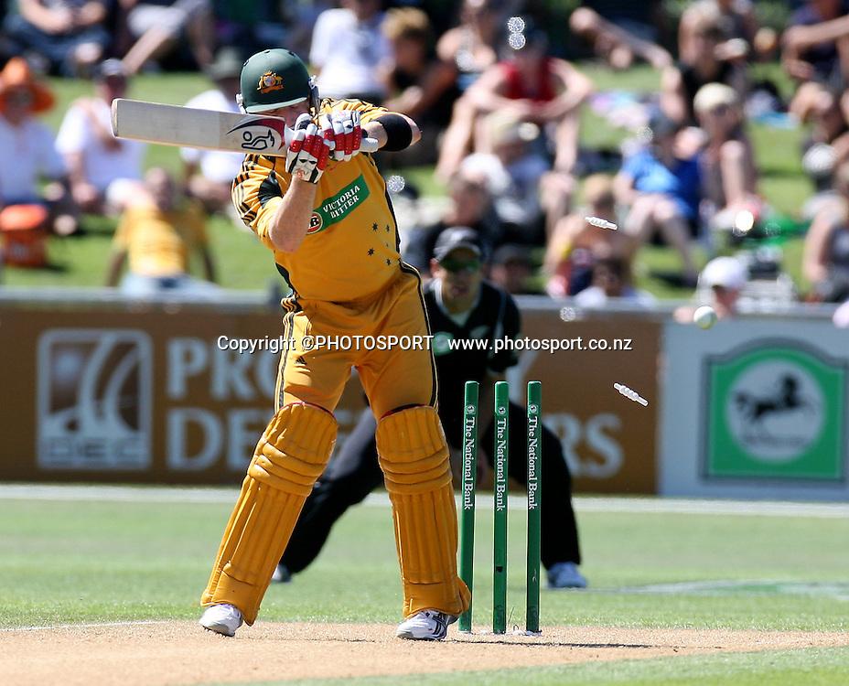 Brad Haddin is bowled by Shane Bond for 12. New Zealand Black Caps v Australia. 1st ODI, Chappell-Hadlee Trophy Series. McLean Park, Napier. Wednesday 03 March 2010  Photo: John Cowpland/PHOTOSPORT