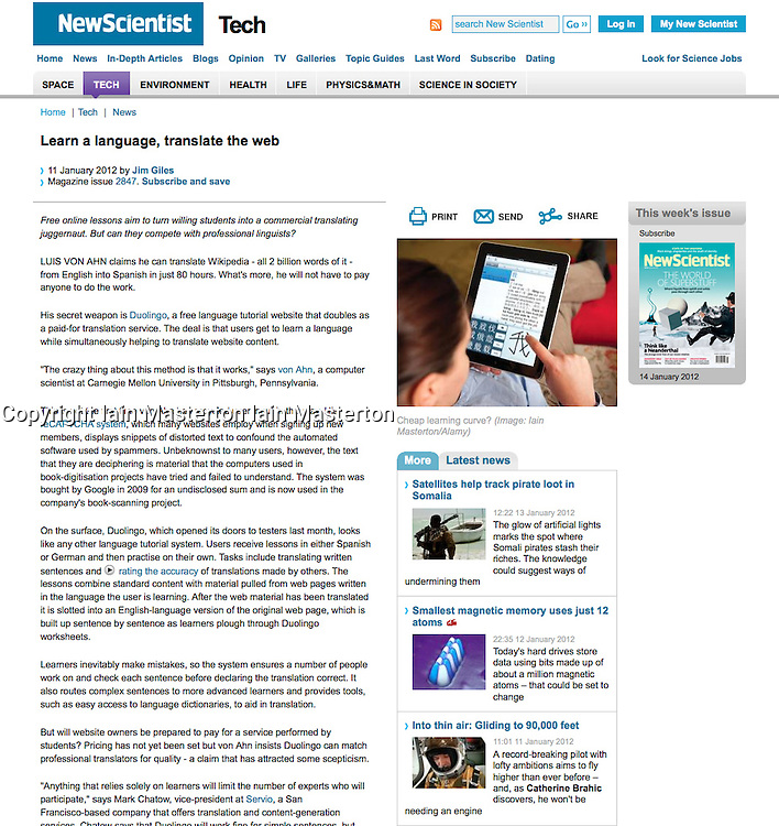 Tearsheet from New Scientist - Woman using iPad to learn Chinese
