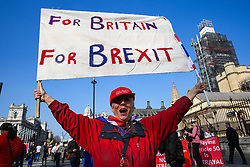 © Licensed to London News Pictures. 29/03/2019. London, UK. Thousands of Leave campaigners outside Parliament protesting against the delay to Brexit, on the day the UK had been due to leave the European Union. British Prime Minister Theresa May's Brexit deal has been third defeat third time by a margin of 58 votes.Photo credit: Dinendra Haria/LNP