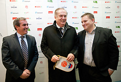 Roman Volcic, president of KZS, Serbian Bozidar Maljkovic and Matej Avanzo  of KZS at press conference of new head coach of Slovenian national basketball team, on December 21, 2010 in Hotel Turist, Ljubljana, Slovenia. (Photo By Vid Ponikvar / Sportida.com)