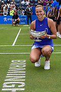 Petra Kvitova of the Czech Republic with the trophy after winning her  match (4-6) (6-3) (6-2) during the Final of the Aegon Classic Birmingham at Edgbaston Priory Club, Edgbaston, United Kingdom on 25 June 2017. Photo by Martin Cole.