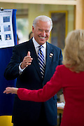 Senator Joseph R. Biden smiles at his wife Jill Biden after casting his  vote in the 2008 general election at the Tatnall School in Greenville, De. Tuesday, 2 November 2008. Biden is the Democratic Vice Presidential Candidate.(Photography by Jim Graham)