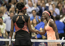 September 7, 2017 - Flushing Meadows, New York, U.S - Sloane Stephens shakes hands on Day Eleven of the 2017 US Open with Venus Williams at the USTA Billie Jean King National Tennis Center on Thursday September 7, 2017 in the Flushing neighborhood of the Queens borough of New York City.  Stephens defeats Williams, 6-1, 0-6, 7-5. (Credit Image: © Prensa Internacional via ZUMA Wire)