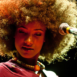 London, UK - 28th May 2012: Esperanza Spalding performs live at the Koko Club. Esperanza is a grammy-award winner bassist, vocalist and composer from Portland, Oregon and begun her solo artist career in 2008. <br /> <br /> High quality fine art limited prints of the concert are available for delivering worldwide. Contact me on pcruciatti@gmail.com to know more.