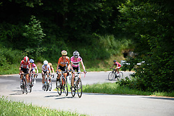 Mara Abbott and Evelyn Stevens ride off the front of the chase group in search of Niewiadoma at Giro Rosa 2016 - Stage 6. A 118.6 km road race from Andora to Alassio, Italy on July 7th 2016.