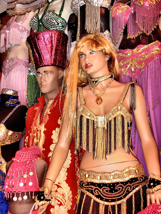 Belly Dancer Outfit and Ottoman Kaftan on Mannequins in Marmaris, Turkey<br />