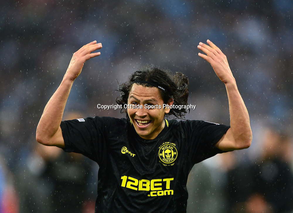 11th May 2013 - The FA Cup Final  - Manchester City v Wigan Athletic - Roger Espinoza of Wigan Athletic celebrates - Photo: Marc Atkins / Offside.