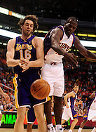 May 25, 2010; Phoenix, AZ, USA; Los Angeles Lakers forward Pau Gasol (16) and Phoenix Suns guard Jason Richardson (23) battle for a rebound during the second quarter in game four of the western conference finals in the 2010 NBA Playoffs at US Airways Center.  Mandatory Credit: Jennifer Stewart-US PRESSWIRE