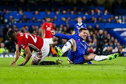 Eden Hazard of Chelsea is fouled by Luis Antonio Valencia of Manchester United - Rogan Thomson/JMP - 13/03/2017 - FOOTBALL - Stamford Bridge - London, England - Chelsea v Manchester United - FA Cup Quarter Final..
