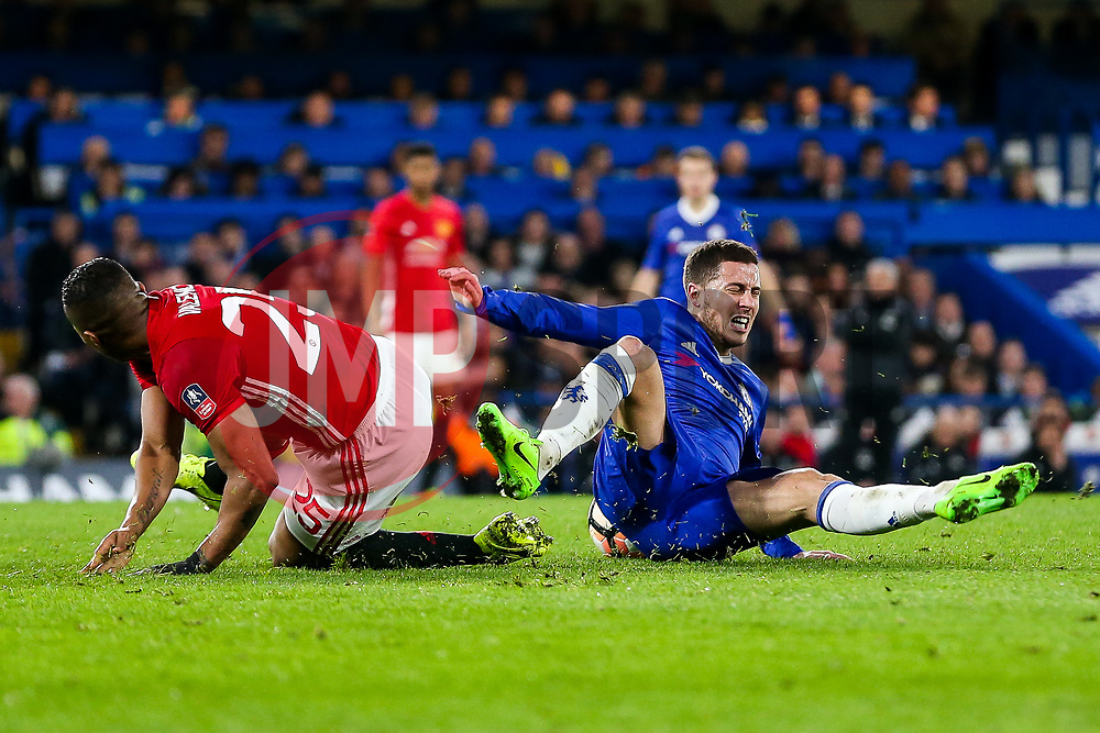 Eden Hazard of Chelsea is fouled by Luis Antonio Valencia of Manchester United - Rogan Thomson/JMP - 13/03/2017 - FOOTBALL - Stamford Bridge - London, England - Chelsea v Manchester United - FA Cup Quarter Final..