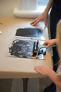 Kylee Thompson, 5 makes a print at Fall Family Day at the Kennedy Museum of Art on Saturday, September 29.