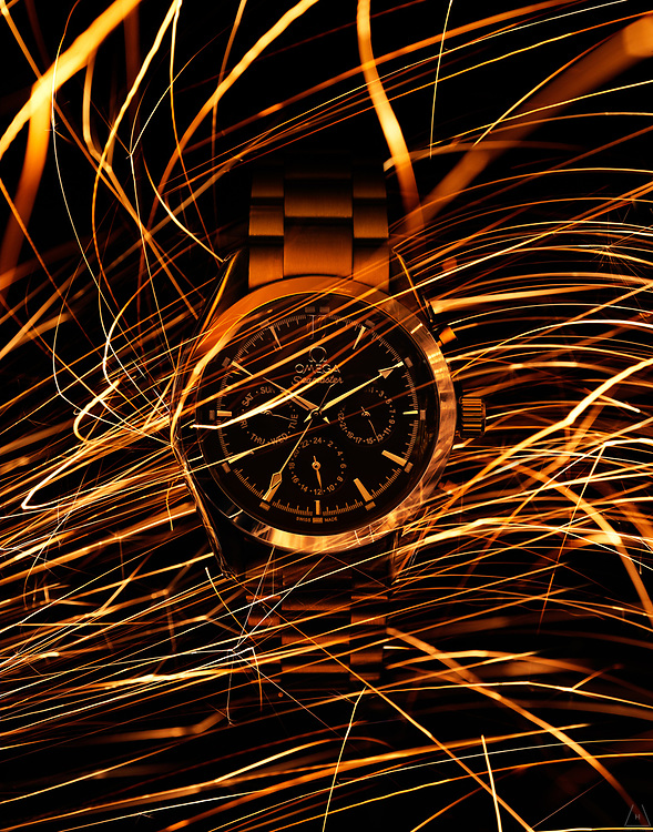 Sparks on Omega watch advertising by Timothy Hogan in New York and London