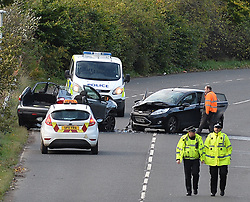 Officers from Police Scotland attend the scene of a serious road traffic accident between two vehicles on Whitburn Road, Bathgate, where firefighters had to free the occupants with cutting gear before they were taken by ambulance to the Sick Children's Hospital and Edinburgh Royal Infirmary by ambulance.<br />