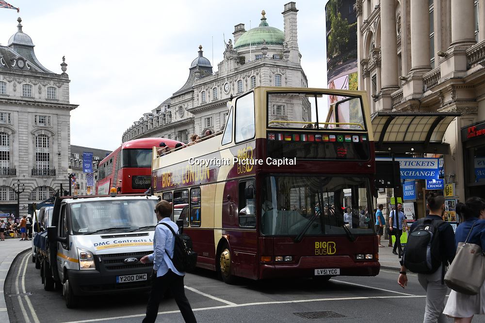 Big Bus - Hop off at Piccadilly circus - Westend, London, UK July 19 2018.