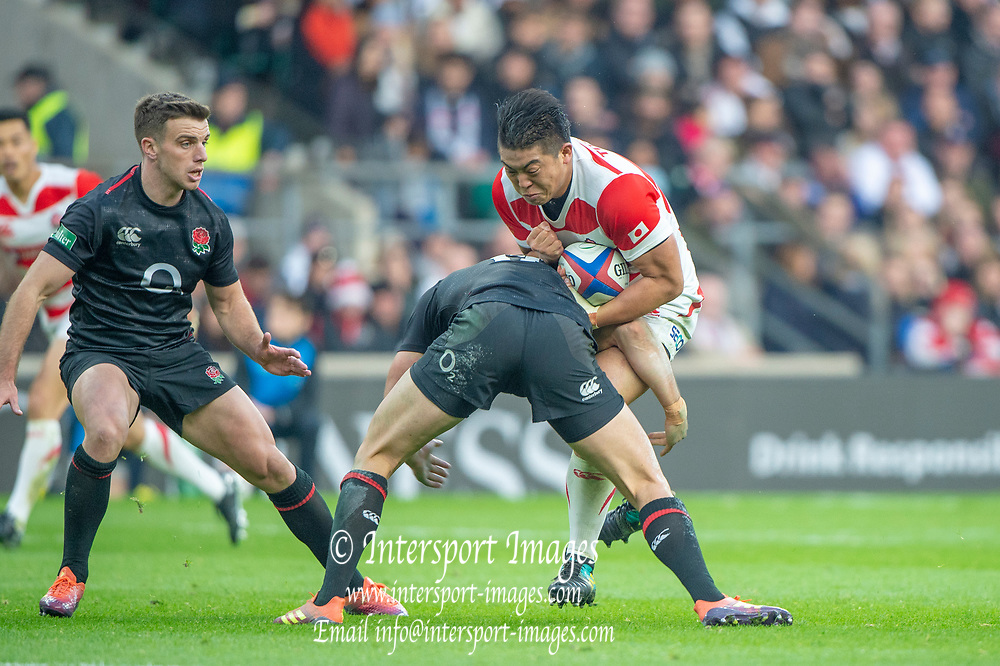 Twickenham, United Kingdom, Saturday, 17th  November 2018, RFU, Rugby, Stadium, England, Crunching Tackle on Shun Suke NONOMAKI,  Quilter Autumn International, England vs Japan, © Peter Spurrier