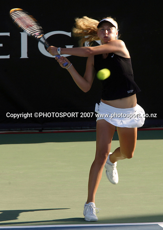 New Zealand's Sacha Jones in action. ASB Classic Women's Doubles Day 1. ASB Tennis Centre, Auckland, New Zealand. Monday 31 December 2007. Photo: Hagen Hopkins/PHOTOSPORT